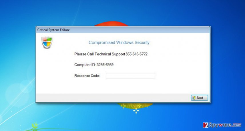 Critical System Failure malware displays these pop-ups