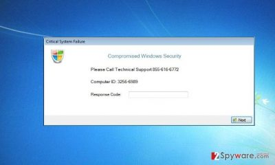 The example of a Compromised Windows Security notification