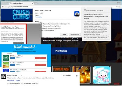 Examples of ads by CrushClans adware