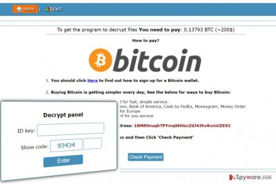 Onion website with instructions how to pay a ransom to Cry128 ransomware authors