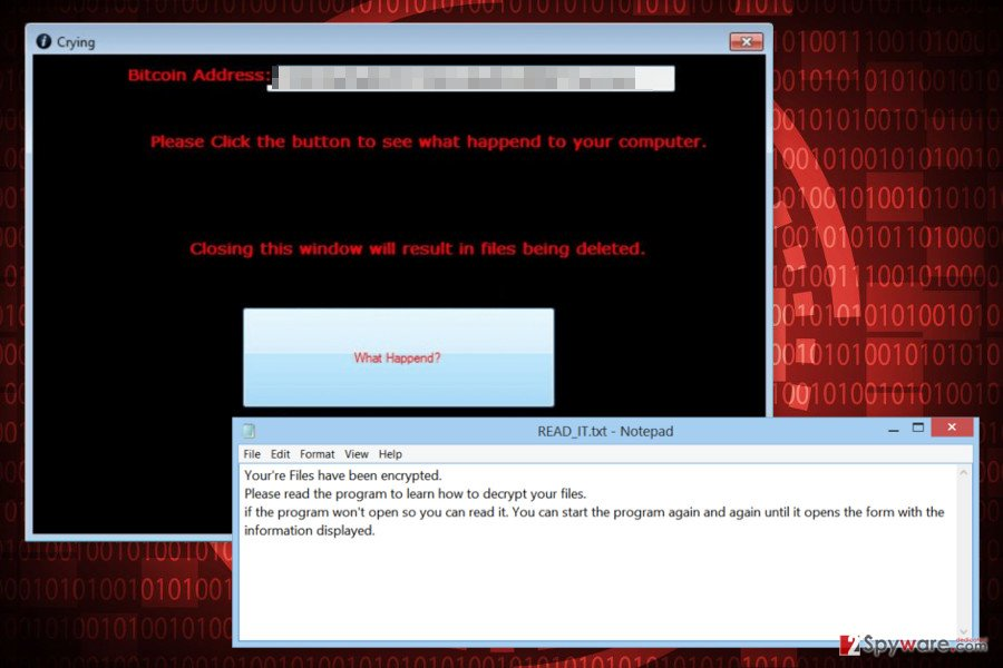 Ransom note by Crying ransomware virus