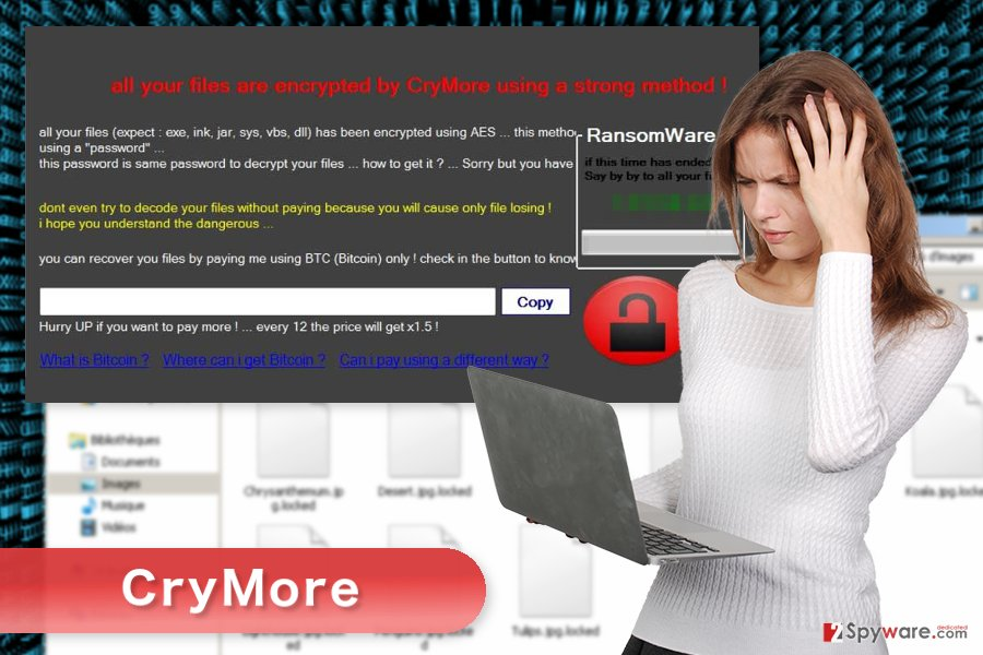 The image of CryMore ransomware virus