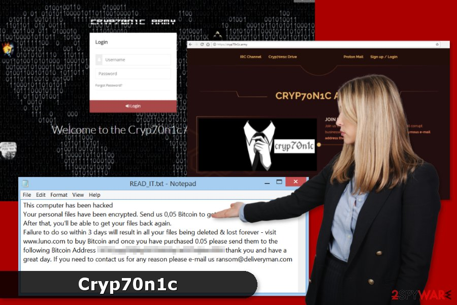 Cryp70n1c ransomware virus project