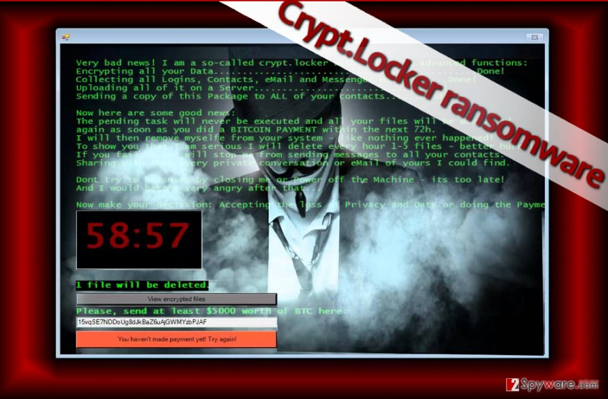 Crypt.Locker ransomware virus