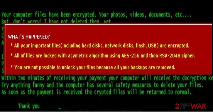 The note revealing CryptFIle2 virus