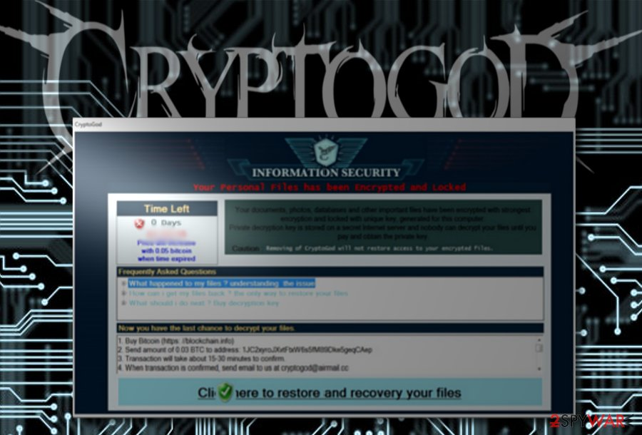 The image displaying CryptoGod ransomware