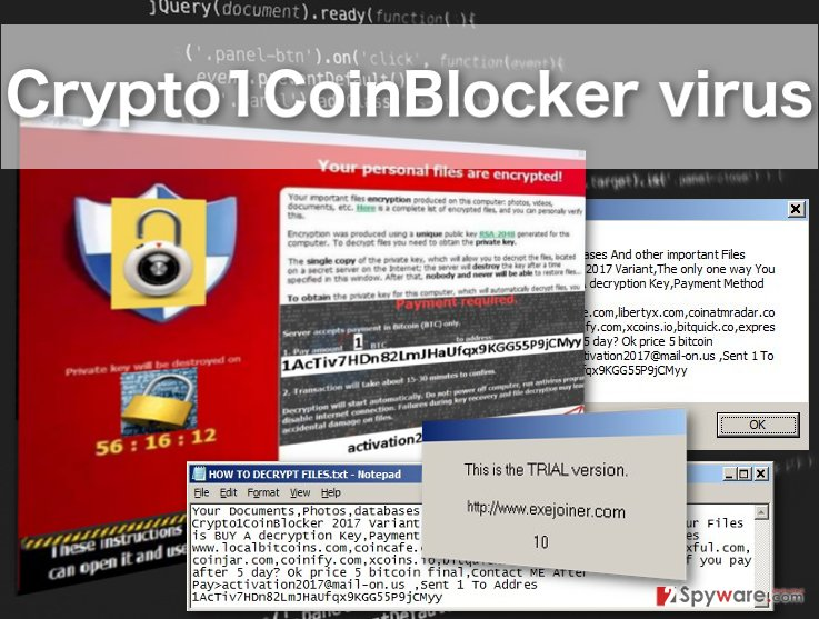 Picture of the Crypto1CoinBlocker ransomware virus
