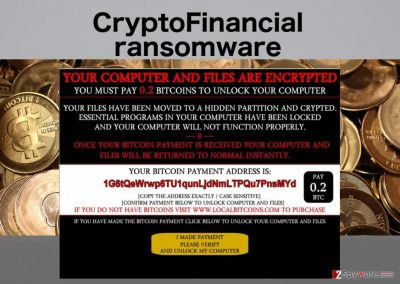 An illustration of the CryptoFinancial ransomware virus ransom note