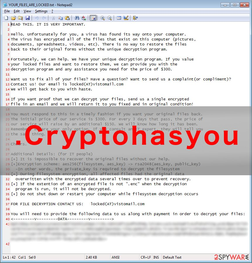 .Cryptohasyou virus example
