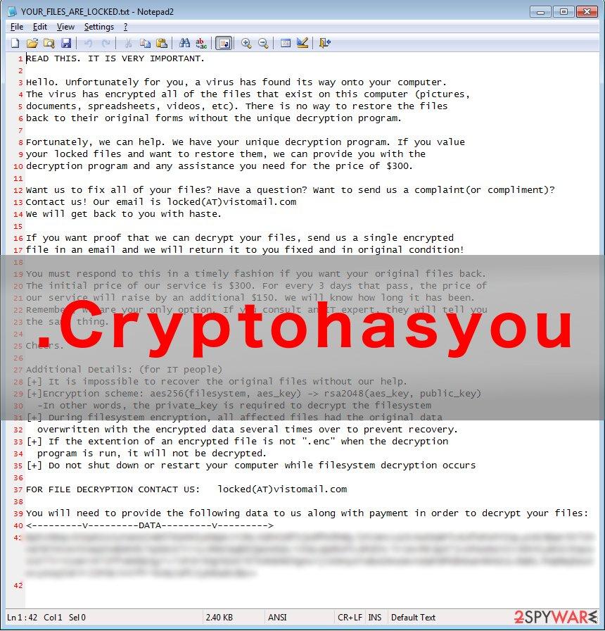 .Cryptohasyou virus example