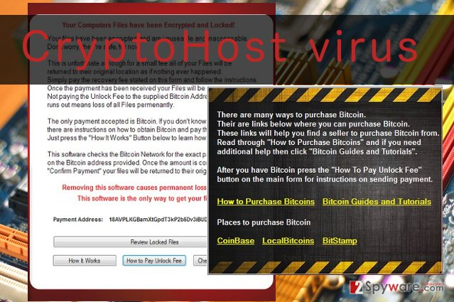 An illustration of CryptoHost virus