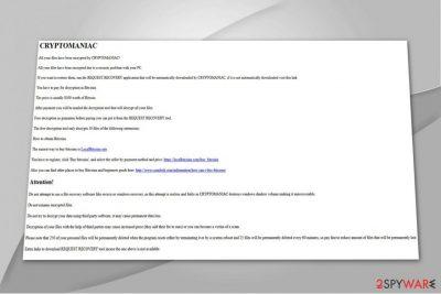 The screenshot of CryptoManiac ransom note