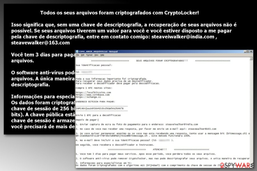 Crypton ransomware Portuguese version