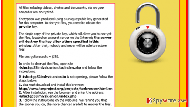The example of CryptorBit ransomware alert