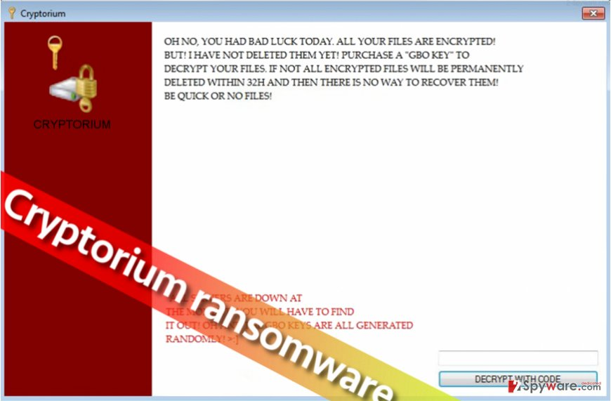 Picture showing Cryptorium ransomware lock screen