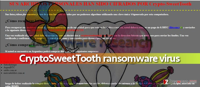 Image of CryptoSweetTooth virus ransom note