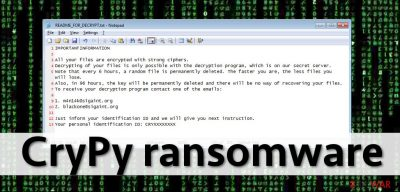 Ransomware note left by CryPy virus