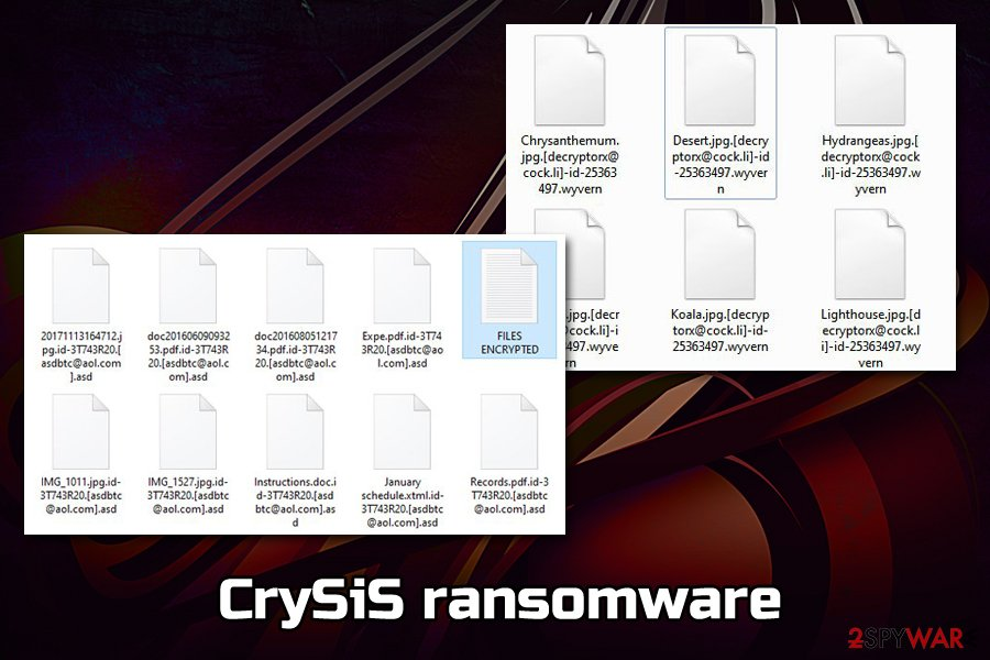 CrySiS ransomware encrypted files