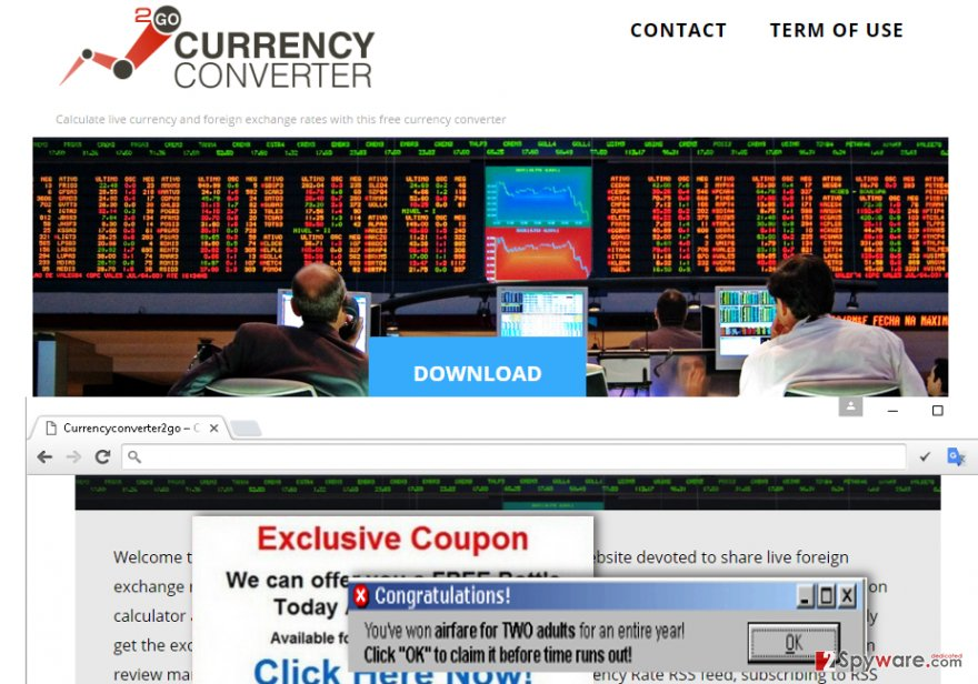 The official website of Currency Converter 2 Go adware