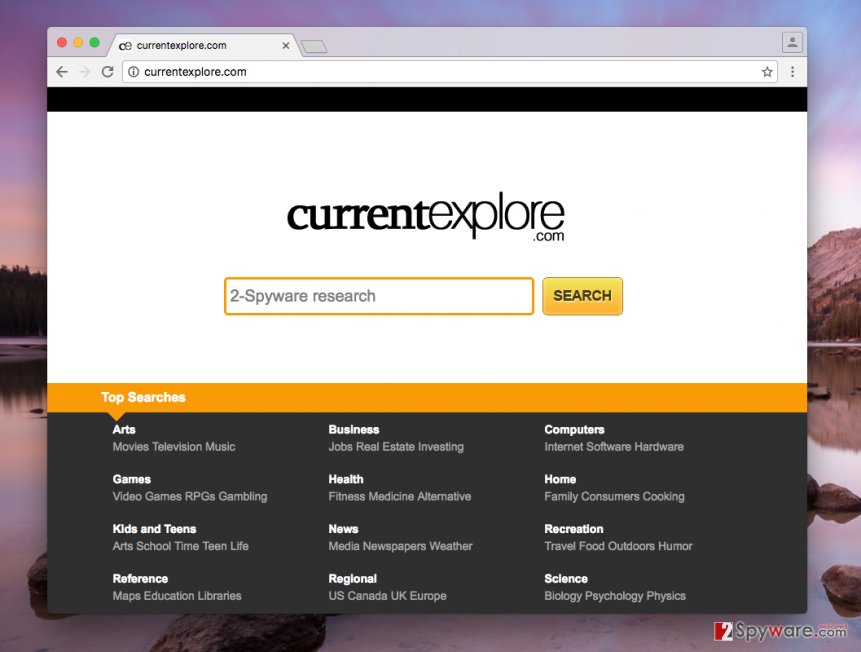 Image presenting Currentexplore.com search engine