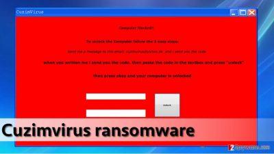 Cuzimvirus malware displays such lock screen