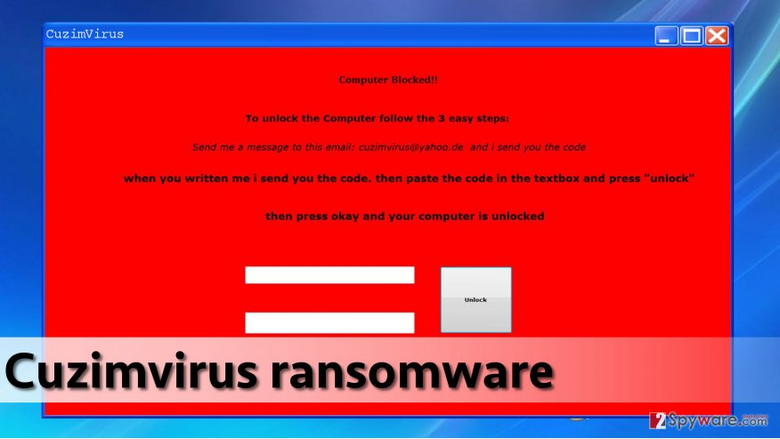 Cuzimvirus malware displays such lock screen