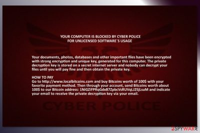 Cyber Police ransomware wallpaper