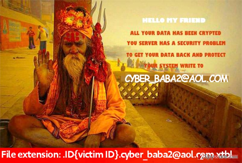 Cyber_baba2@aol.com ransomware changes wallpaper with this image