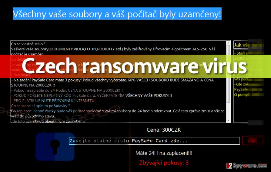 Picture of Czech ransomware screenlocker