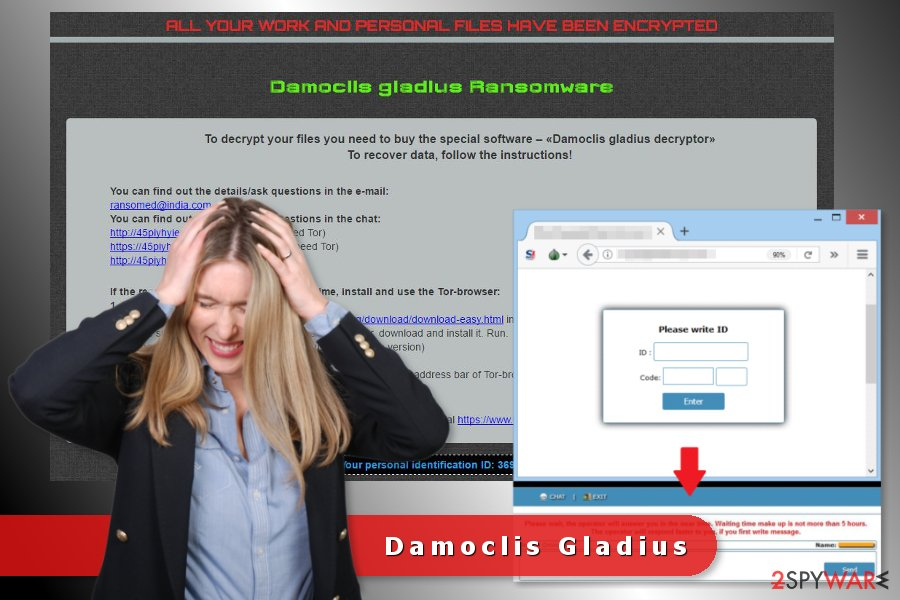 Damoclis ransomware virus ransom note