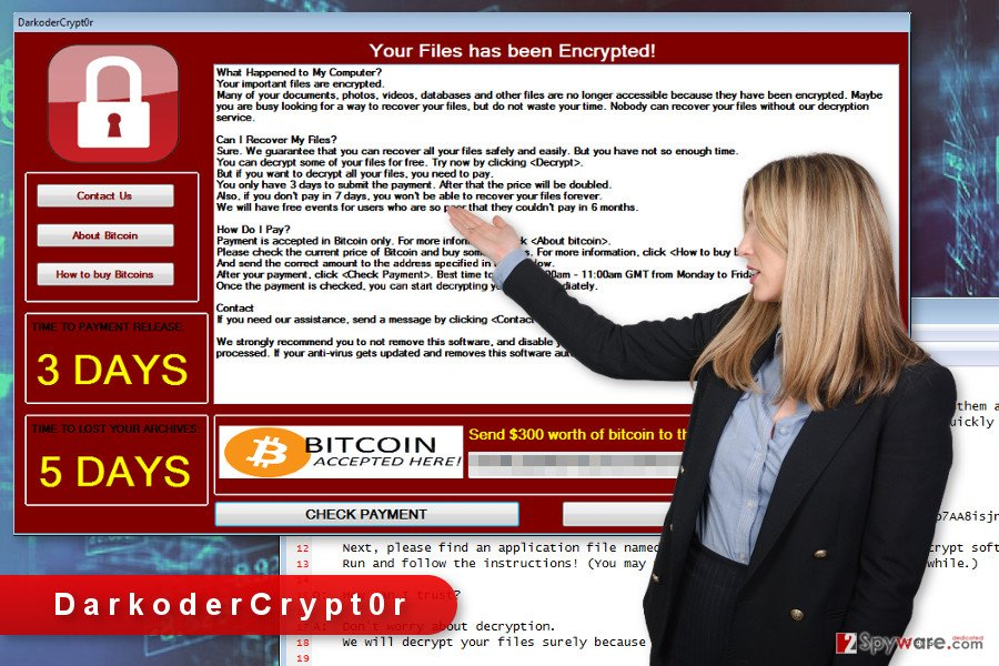 The illustration of DarkoderCrypt0r ransomware virus