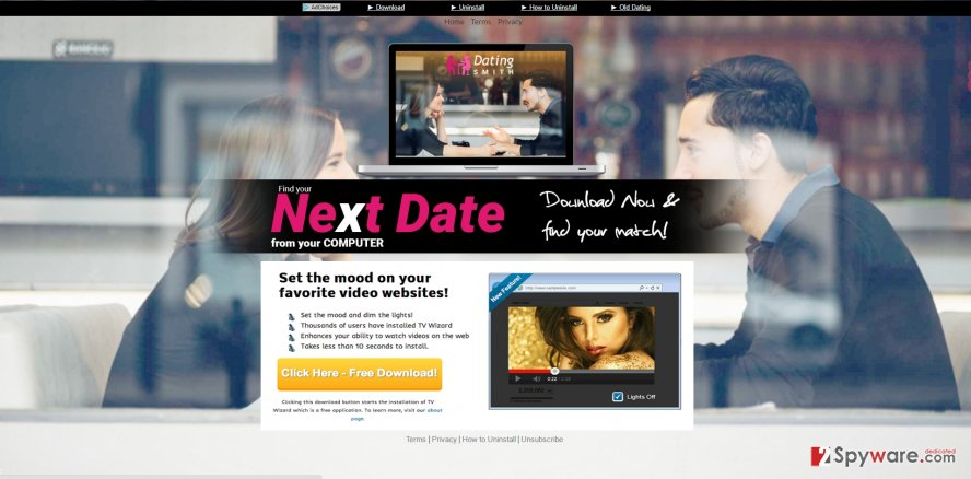 The picture revealing DatingSmith ads