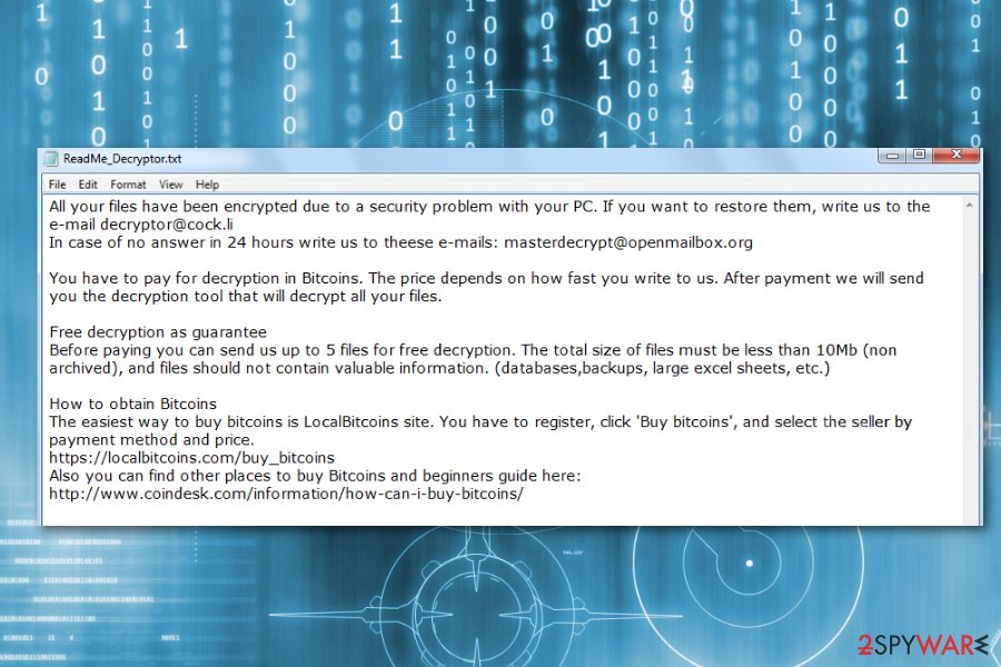 Ransom note by DCRTR ransomware
