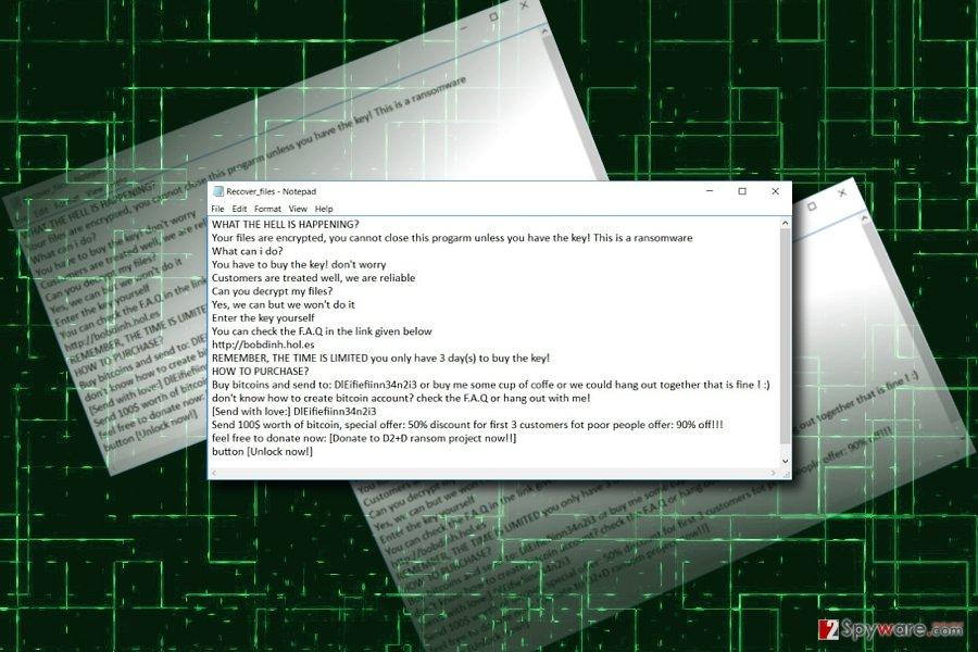 D2+D virus ransomware sample