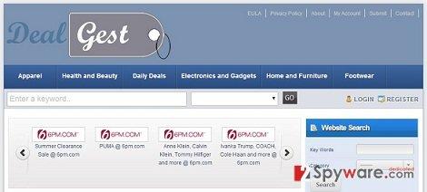 DealGest adware snapshot