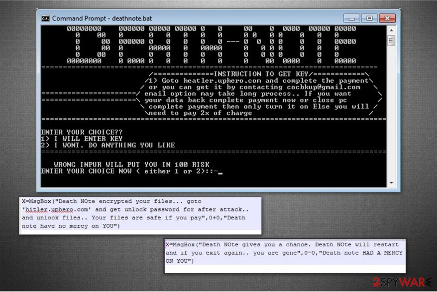 The ransom note of Death Note ransomware
