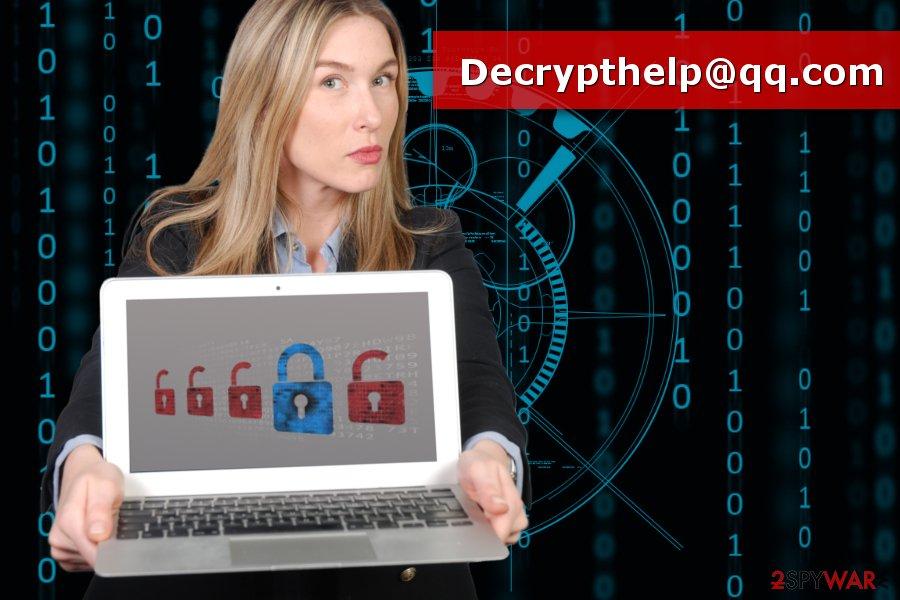 The picture of Decrypthelp@qq.com ransomware virus
