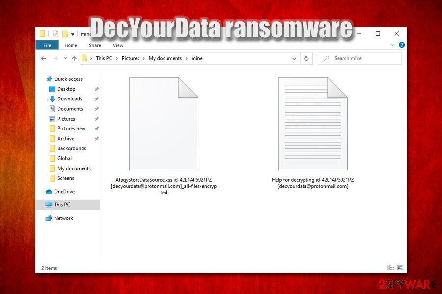 DecYourData ransomware encrypted files