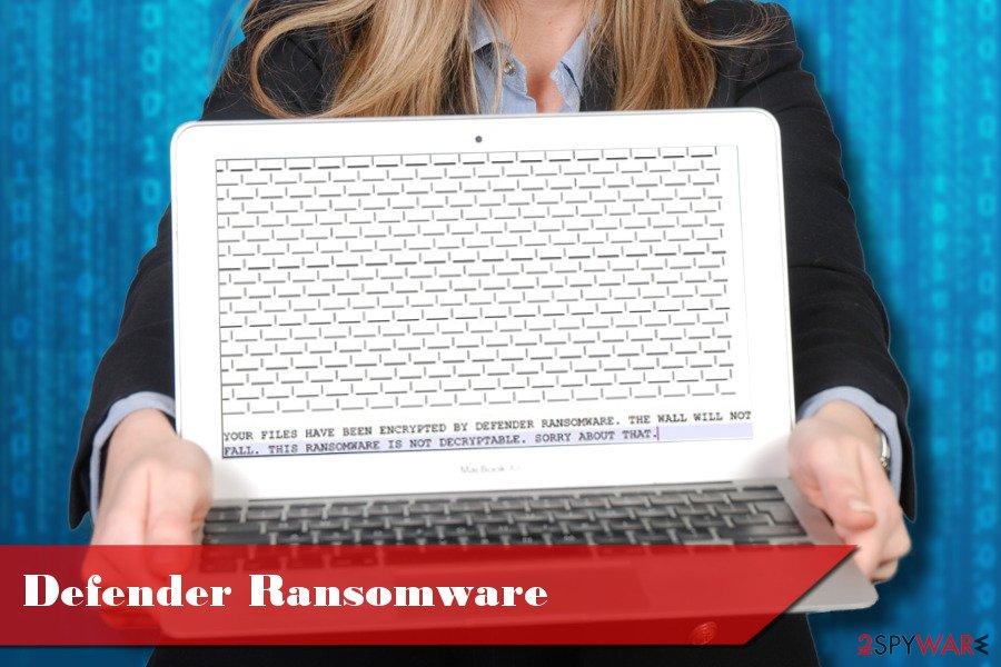 Showing Defender ransomware virus
