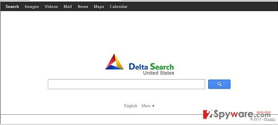 Delta Search and its main oage used for redirecting people to other sites