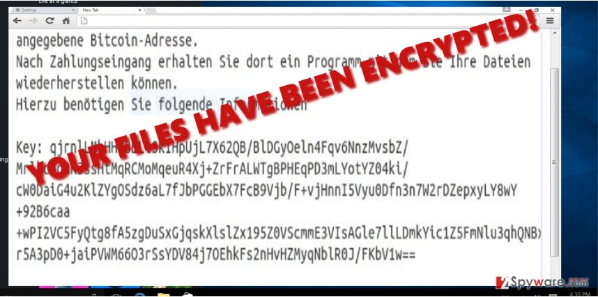 The example of Demo ransomware