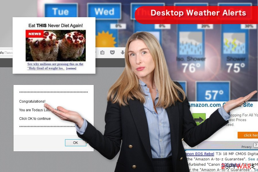 Desktop Weather Alerts pop-up tracks browsing-related information about its users