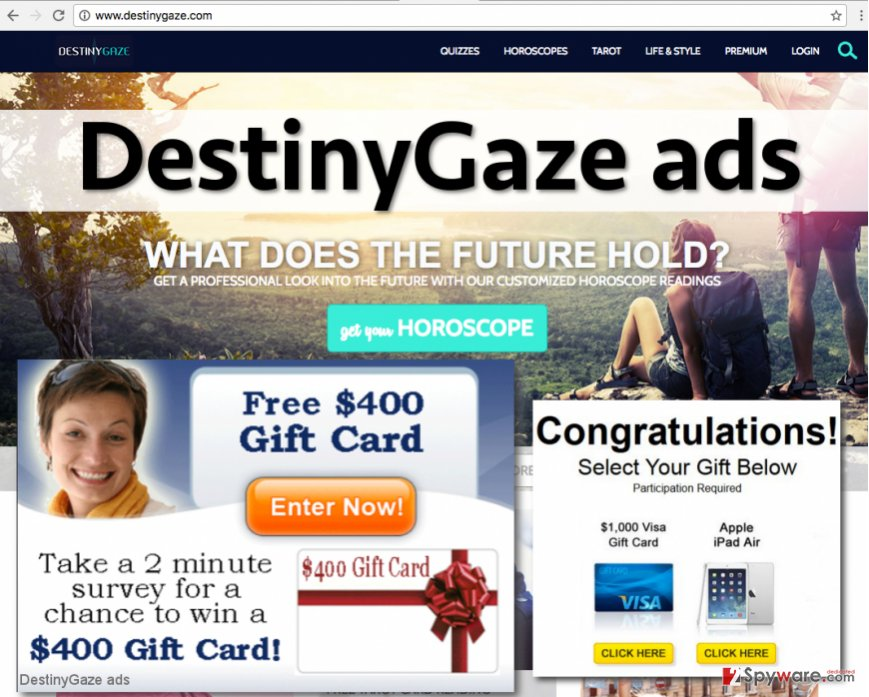 DestinyGaze virus serves intrusive ads