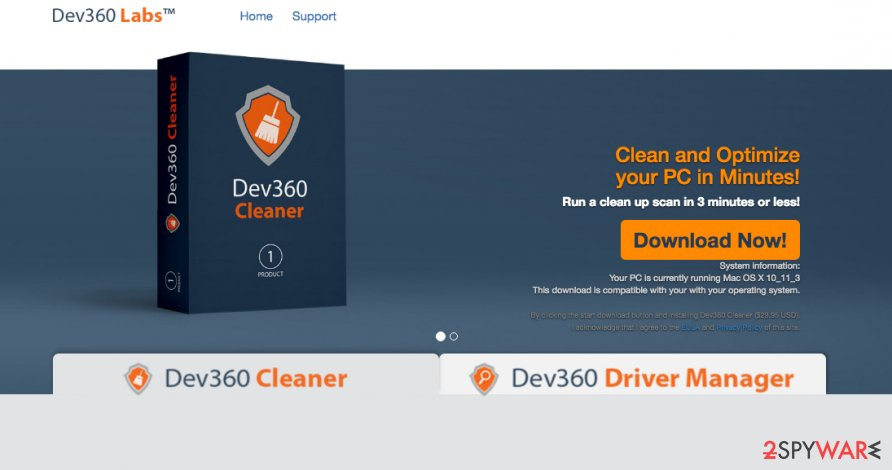 A screenshot of the Dev360 Cleaner download website