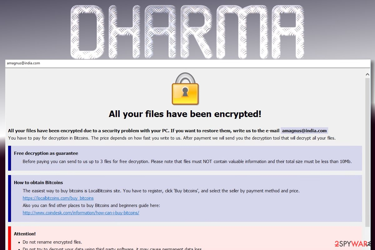 The ransom note of Dharma ransomware virus
