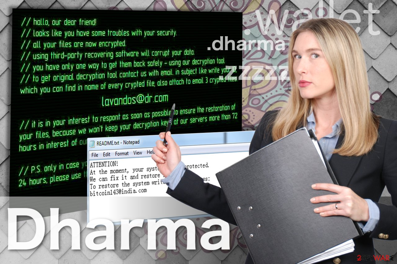 The illustration of Dharma ransomware virus
