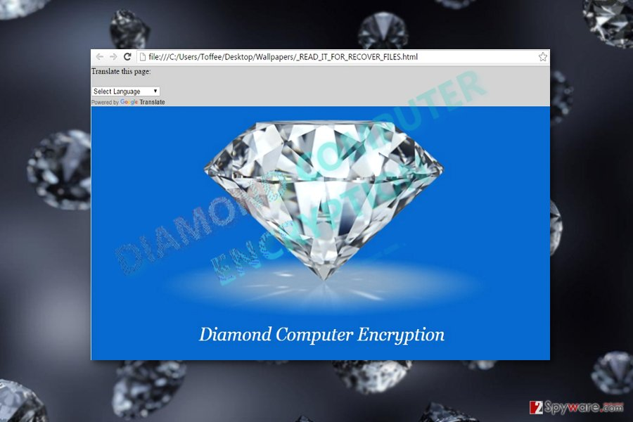 The image illustrating Diamond Computer Encryption