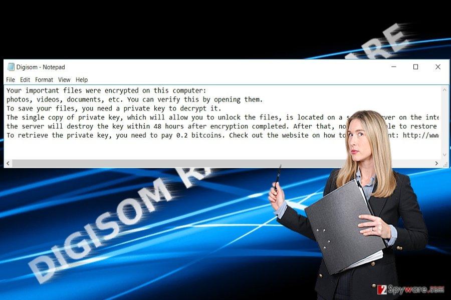 The screenshot of Digisom virus