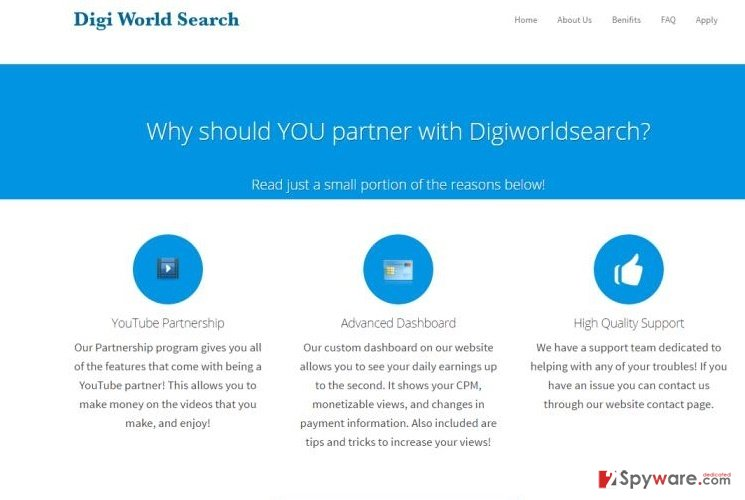 The screenshot of DigiWorldSearch Media Manage