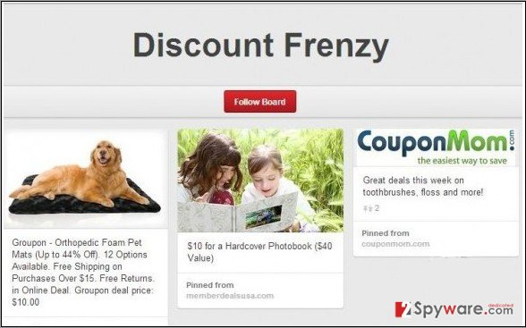 Discount Frenzy adware snapshot